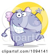 Purple Elephant Walking Upright And Waving