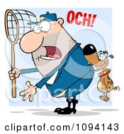 Clipart Dog Biting A Catcher Guy In The Butt Royalty Free Vector Illustration by Hit Toon