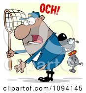 Clipart Gray Canine Biting A Dog Catcher In The Butt Royalty Free Vector Illustration