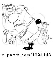 Clipart Dog Biting A Catcher In The Butt Royalty Free Vector Illustration
