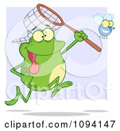 Clipart Hungry Frog Catching A Bug With A Net Royalty Free Vector Illustration