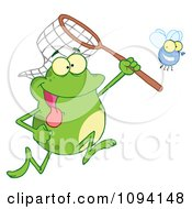 Clipart Green Frog Catching A Bug With A Net Royalty Free Vector Illustration