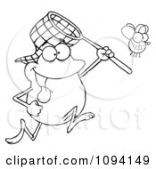 Clipart Outlined Frog Catching A Bug With A Net Royalty Free Vector Illustration