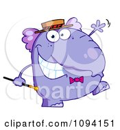 Happy Purple Elephant With A Cane And Hat Walking Upright And Waving