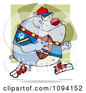 Clipart Grey Bulldog Football Player Running Royalty Free Vector Illustration by Hit Toon