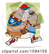 Clipart Brown Bull Dog Football Player Running Royalty Free Vector Illustration by Hit Toon