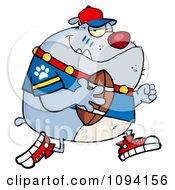 Clipart Gray Bulldog Football Player Running Royalty Free Vector Illustration by Hit Toon
