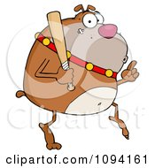 Clipart Brown Bulldog Sneaking Around On Tip Toes With A Bat Royalty Free Vector Illustration by Hit Toon