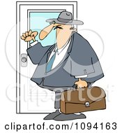 Clipart Door To Door Salesman Knocking Royalty Free Vector Illustration