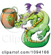 Clipart St Patricks Day Dragon Drinking From A Beer Keg Royalty Free Vector Illustration by Zooco