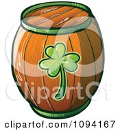 Clipart St Patricks Day Barrel Beer Keg Royalty Free Vector Illustration
