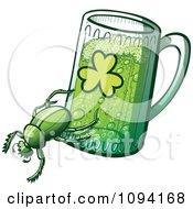 Clipart St Patricks Day Beetle And Green Beer Royalty Free Vector Illustration by Zooco