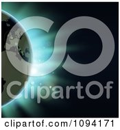 Clipart Erope Featured On The Earth Against An Eclipse And Blue Light Royalty Free Vector Illustration