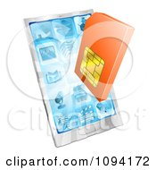Clipart 3d Orange Sim Card Over A Smart Phone Royalty Free Vector Illustration