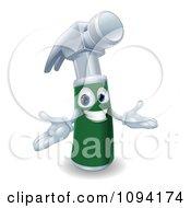 Poster, Art Print Of Friendly 3d Green Handled Hammer Character