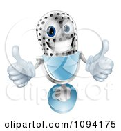 Clipart 3d Silver And Blue Microphone Holding Two Thumbs Up Royalty Free Vector Illustration
