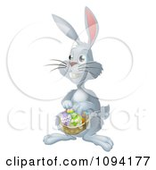 Clipart Gray Bunny Hunting Easter Eggs And Holding A Basket Royalty Free Vector Illustration