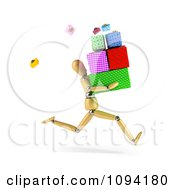 Clipart 3d Wooden Mannequin Running With A Pile Of Gift Boxes Royalty Free CGI Illustration by stockillustrations