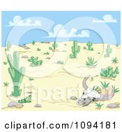 Clipart Cow Skull In A Dry Desert Landscape Royalty Free Vector Illustration