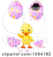Clipart Cute Easter Duckling And Decorated Eggs Royalty Free Vector Illustration by Pushkin