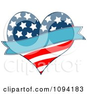 Clipart Patriotic American Heart With A Blue Banner Royalty Free Vector Illustration