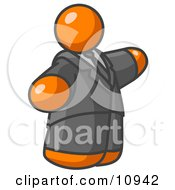 Orange Business Man In A Suit And Tie Clipart Illustration
