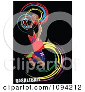 Clipart Basketballer Over Black With Colorful Spirals Royalty Free Vector Illustration by leonid