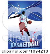Clipart Basketballer Over Blue With Stars And Grunge With Text Royalty Free Vector Illustration by leonid