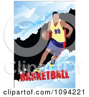 Clipart Basketball Athlete Over Grunge With Text 2 Royalty Free Vector Illustration by leonid