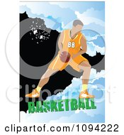 Clipart Basketball Athlete Over Grunge With Text 3 Royalty Free Vector Illustration by leonid
