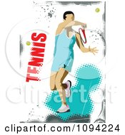 Clipart Faceless Tennis Player With Text On White And Blue Grunge Royalty Free Vector Illustration by leonid