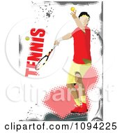 Clipart Faceless Tennis Player With Text On White And Pink Grunge Royalty Free Vector Illustration by leonid