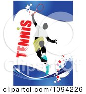 Clipart Faceless Tennis Player Over Text On Blue With Grunge 1 Royalty Free Vector Illustration by leonid