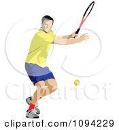 Clipart Faceless Male Tennis Player 3 Royalty Free Vector Illustration