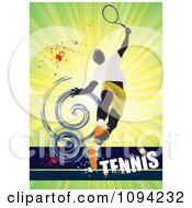 Clipart Faceless Tennis Player Over Text On Green Grunge Royalty Free Vector Illustration