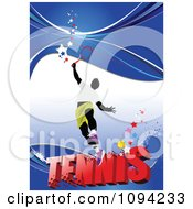 Clipart Faceless Tennis Player Over Text On Blue With Grunge 2 Royalty Free Vector Illustration