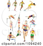 Clipart Track And Field Athletes Royalty Free Vector Illustration by leonid