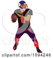 Clipart Faceless American Football Player 3 Royalty Free Vector Illustration