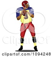 Clipart Faceless American Football Player 2 Royalty Free Vector Illustration