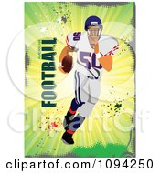 Clipart Football Athlete Over Grunge With Text 2 Royalty Free Vector Illustration