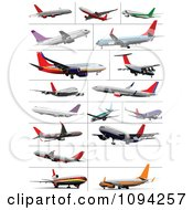 Clipart Commercial Jumbo Jet Planes Royalty Free Vector Illustration
