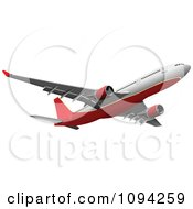 Clipart Red And White Jumbo Jet In Flight Royalty Free Vector Illustration