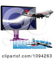 Clipart Jumbo Jet Planes And Computer Monitor Royalty Free Vector Illustration