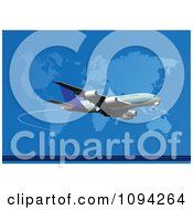 Clipart Jumbo Jet Airliner Over A World Map On Blue Royalty Free Vector Illustration by leonid