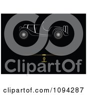 Clipart White Antique Car In Profile Over A Gold Rule On Black Royalty Free Vector Illustration by leonid