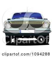 Clipart The Front Of A Blue Vintage Car Royalty Free Vector Illustration