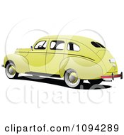 Clipart Vintage Yellow Car Royalty Free Vector Illustration