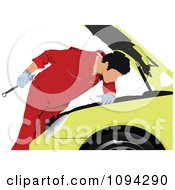 Clipart Male Mechanic Looking Under A Yellow Cars Hood Royalty Free Vector Illustration