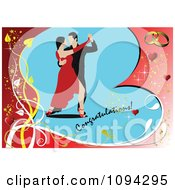 Clipart Tango Dancing Couple Over A Heart With Congratulations Text And Wedding Rings Royalty Free Vector Illustration by leonid
