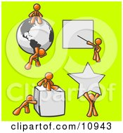 Orange Men With A Globe Presentation Board Cube And Star Clipart Illustration